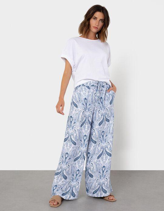 Fluid Trousers, Blue Paisley