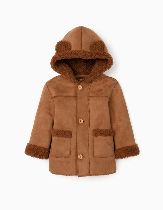 Hooded Suede Jacket for Baby Boys, Camel