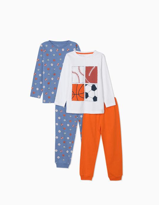 2 Long Sleeve Pyjamas for Boys, 'Sports', Blue/White/Orange