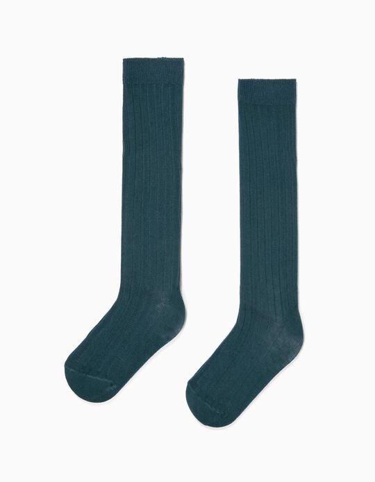 Rib Knit Knee High Socks for Girls, Dark Teal