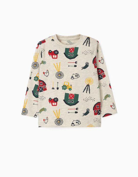 Long Sleeve T-Shirt for Baby Boys 'Farming', Marl Beige
