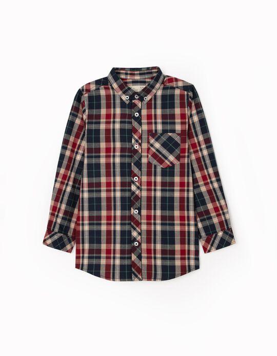 Plaid Shirt for Boys, Blue/Burgundy/Beige