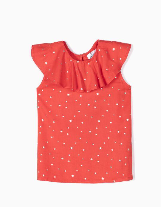 Blusa para Menina 'Stars', Coral e Dourado