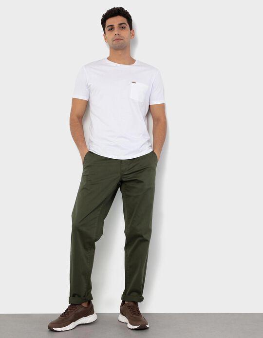Calças de Sarja Slim Fit, Homem, Verde Escuro
