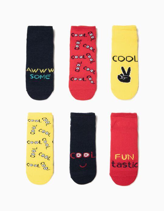 6 Pares de Meias Curtas para Menino 'Cool', Multicolor