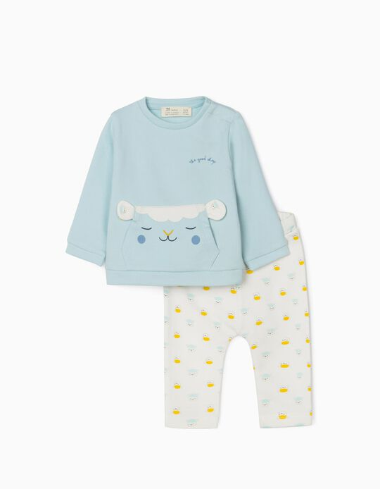 Jumpsuit for Newborn Baby Boys, 'Good Sheep', Blue/White