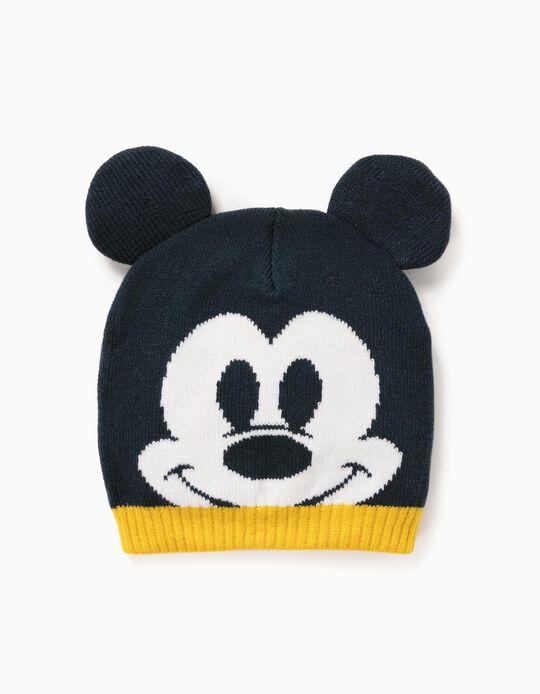 Knit Beanie for Baby Boys 'Mickey', Dark Blue/Yellow