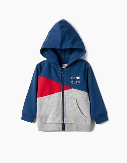 Hooded Jacket for Baby Boys 'Game Over', Blue/Red/Grey