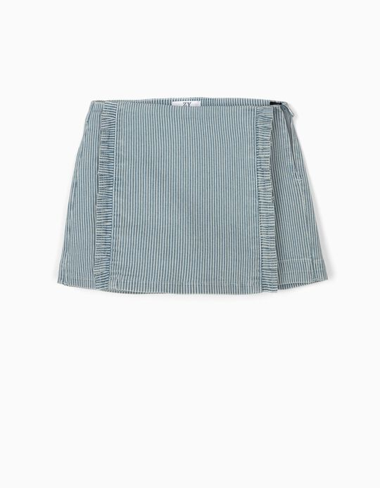 Striped Skort for Girls, Blue/White