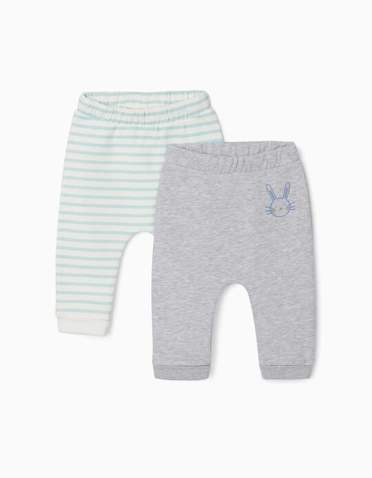2 Pairs of Trousers for Newborn Baby Boys, 'Cute Bunny', Grey/White/Blue