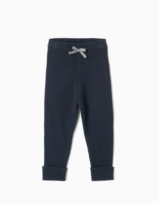 Ribbed Knit Trousers for Baby Girls, Dark Blue