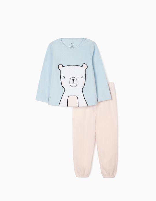 Polar Fleece Pyjamas for Girls 'Bear', Pink/Blue