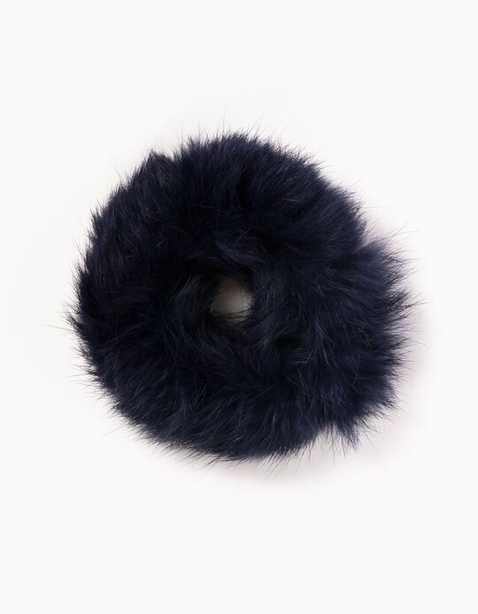 Fluffy Hair Tie, Blue