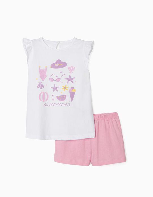 Pyjamas for Girls, 'Summer', White/Pink