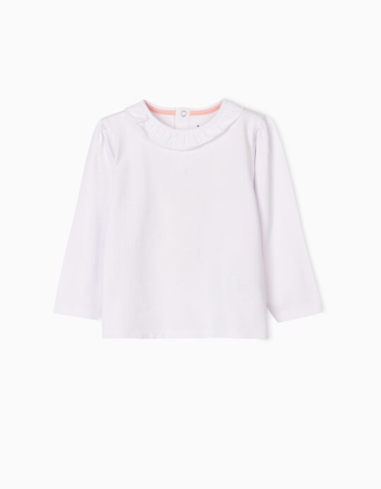 Long Sleeve Top with Ruffle, White