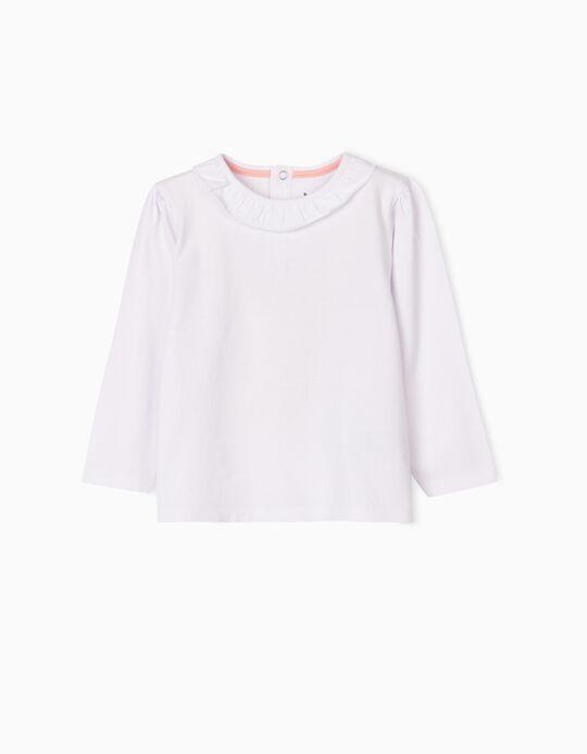 T-shirt Manga Comprida com Folho, Branca