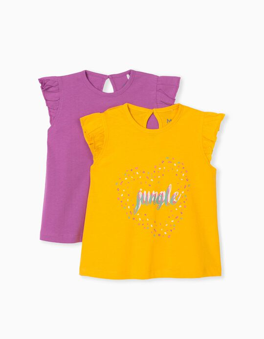 2 T-shirts for Baby Girls, Lilac/Yellow