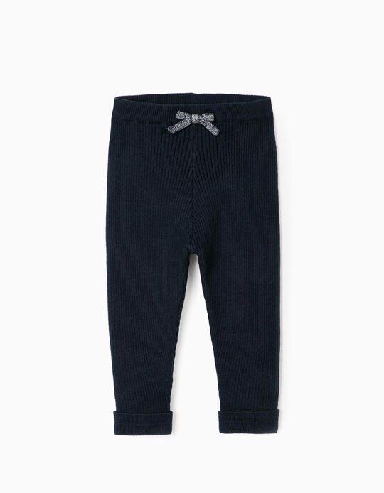 Rib Knit Trousers for Baby Girls, Dark Blue