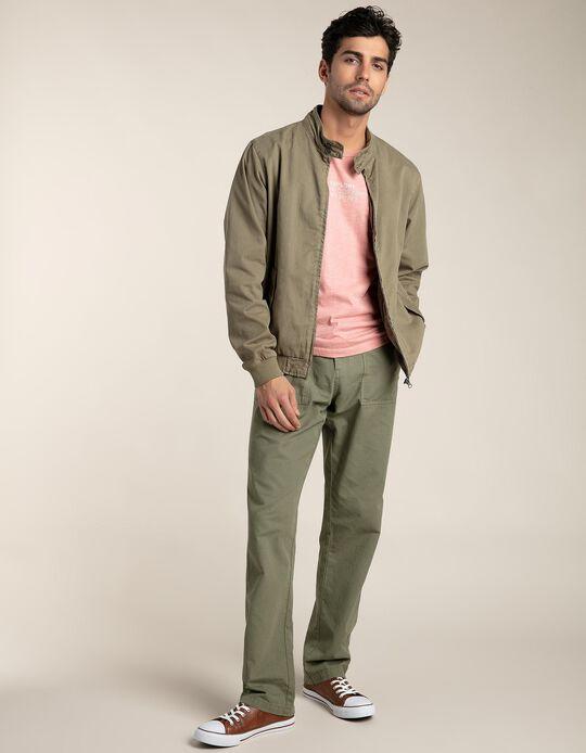 Slim leg garment dyed trousers