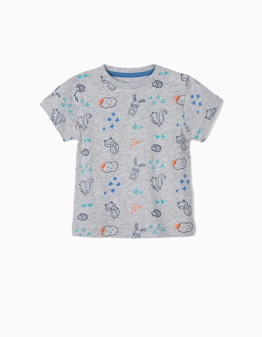 T-shirt Estampada para Bebé Menino, Cinza