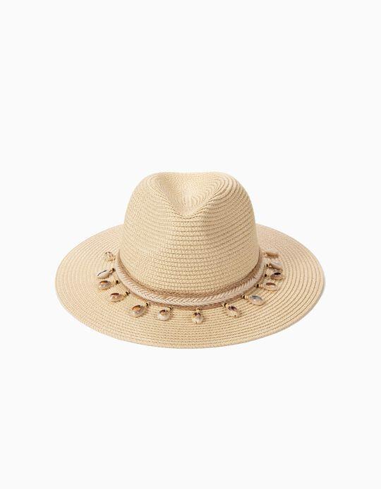 Chapéu de palha com conchas