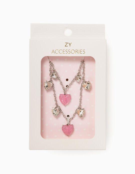 Necklace + Bracelet for Girls, Silver