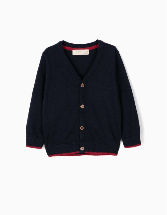 Knit Cardigan for Baby Boys, Dark Blue