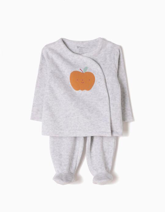 Pijama Manga Comprida e Calças Veludo Apple