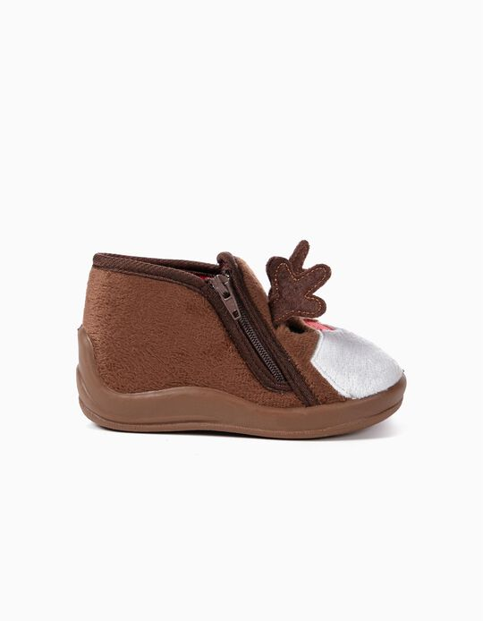 Slippers Boots for Baby 'Christmas Reindeer', Brown