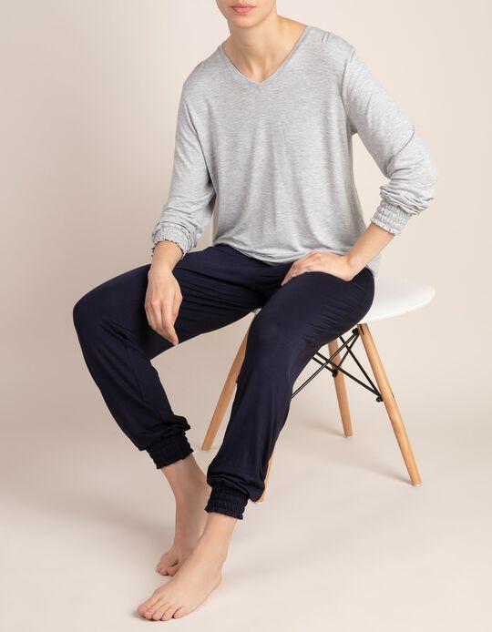 Pijama bicolor liso com gola em V