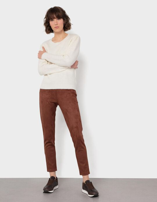 Skinny Leg Suedette Trousers, for Women