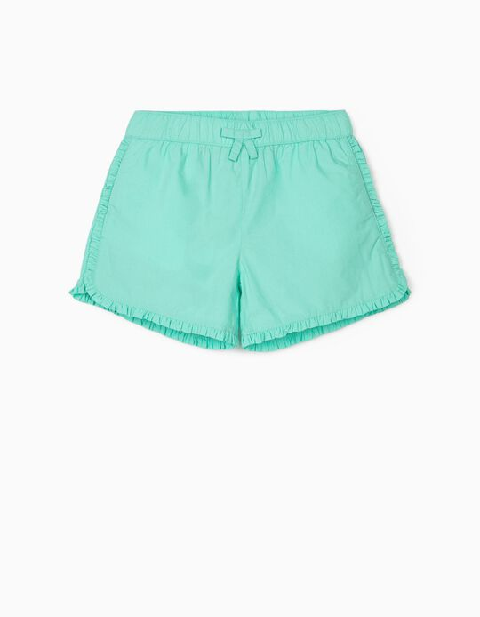 Ruffled Shorts for Girls, Aqua Green