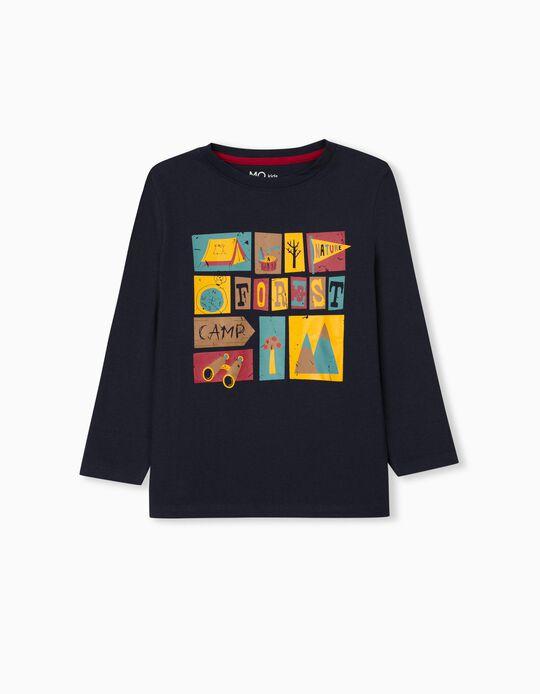 T-shirt Manga Comprida, Menino, Azul Escuro