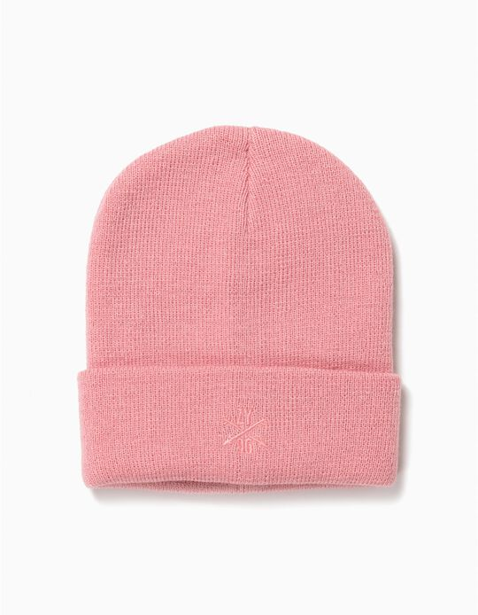 Gorro básico com dobra rosa
