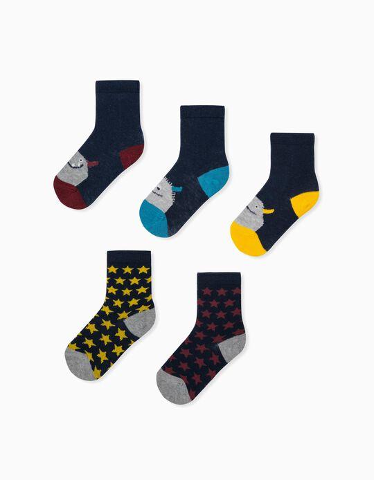 5 Pairs of Socks for Baby Boys, 'Monsters & Stars', Multicoloured