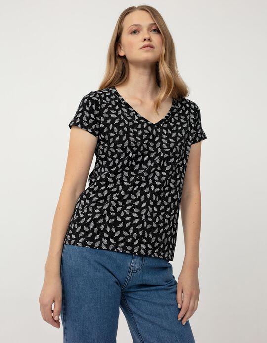 T-shirt with Leaf Print, Black