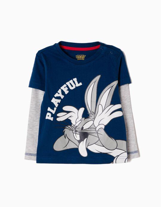 T-shirt Manga Comprida Bugs Bunny Azul