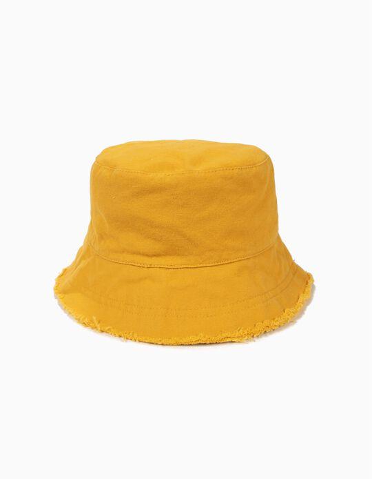 Chapéu para Menina com Aba Desfiada, Amarelo-Torrado