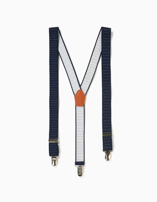 Elasticated Braces for Boys, Dark Blue