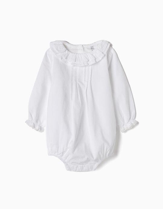 Body-Blusa para Recém-Nascida 'Folhos e Rendinhas', Branco