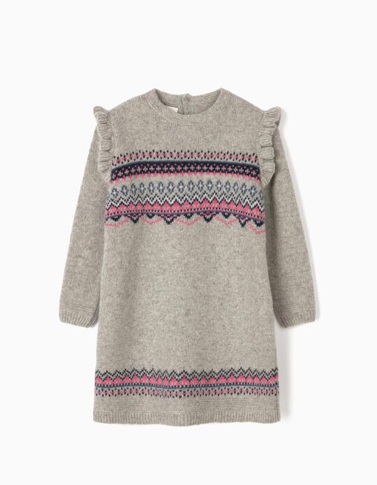 Wool Dress with Jacquard for Baby Girls, Grey