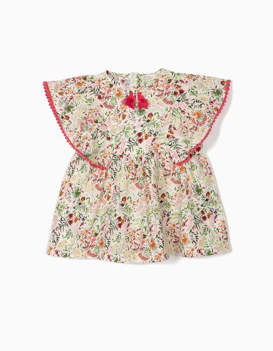 Blusa para Menina 'Flores' com Borlas, Branco