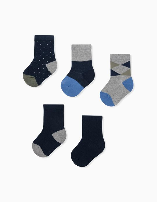 5 Pairs of Socks for Baby Boys, Grey/Blue/Green