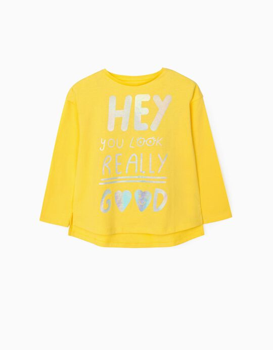 Long Sleeve Top for Girls, 'Hey', Yellow