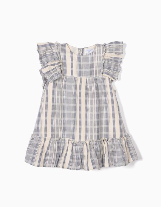 Vestido para Bebé Menina com Tapa-Fraldas 'B&S' Riscas, Azul