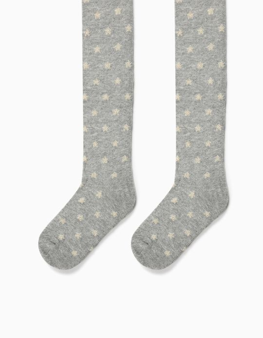 Fine Knit Tights for Girls, 'Stars', Grey