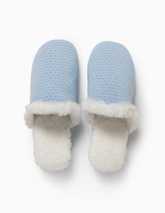 Blue Bedroom Slippers, for Women