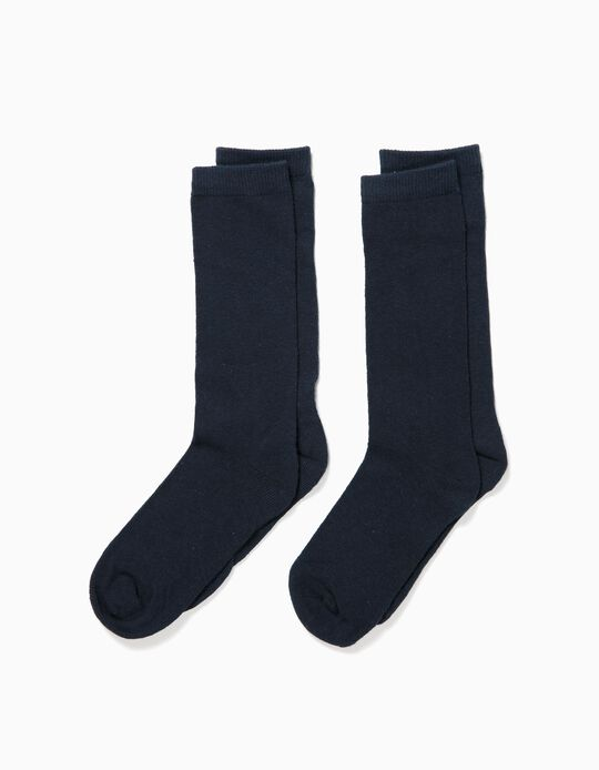 2-Pack Pairs of High Knee Socks for Boys, Dark Blue