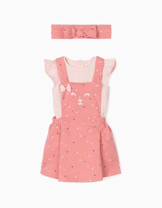 Pinafore Dress, Bodysuit & Hairband for Newborn Baby Girls, Pink