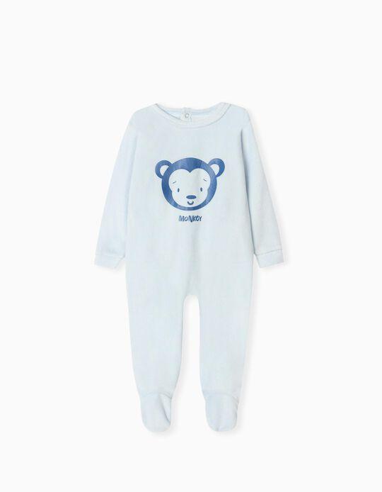 Velour Sleepsuit for Babies, Light Blue